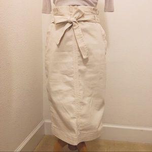 Banana Republic High Pleated Waist Belt Tie Skirt